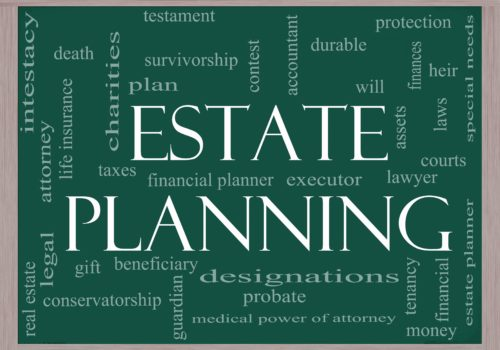 12701379 - estate planning word cloud concept on a chalkboard with great terms such as durable, will, financials, lawyer, executor, probate and more