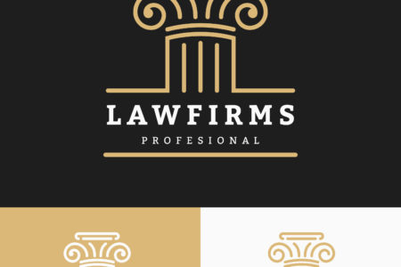 52190162 - law firms logo template with space for business slogan and tags line. vector illustration