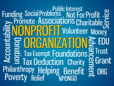 Nonprofit Organization word cloud on Blue Background